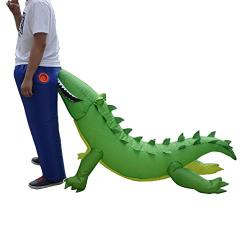funny inflatable crocodile biting butt costume stop the boring