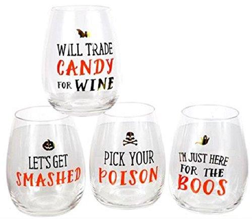 Funny Halloween Wine Glasses