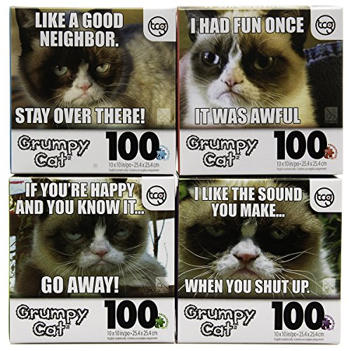 Set of 4 Grumpy Cat 100 Piece Jigsaw Puzzles