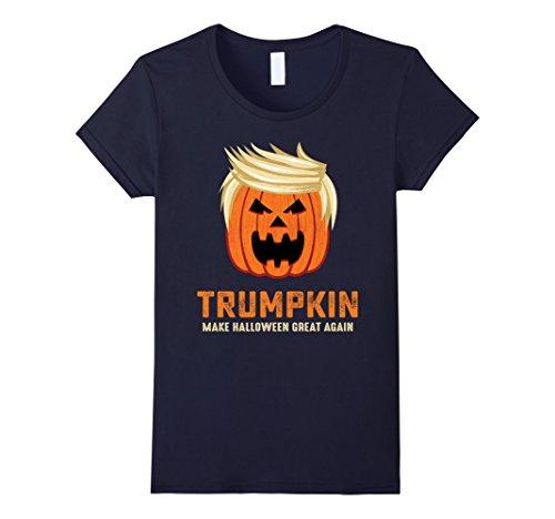Womens Halloween Trumpkin Funny T Shirt Small Navy 0