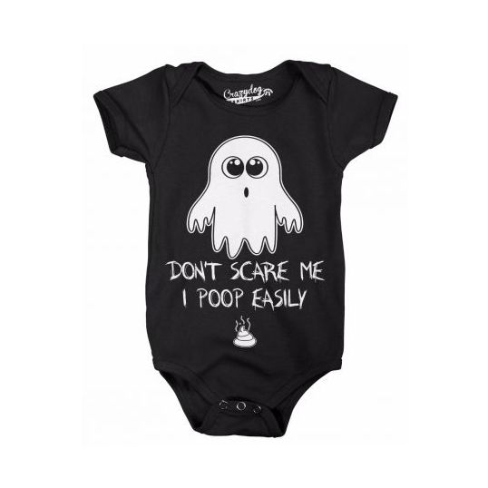 Don't Scare Me I Poop Easily Funny Halloween Onesie