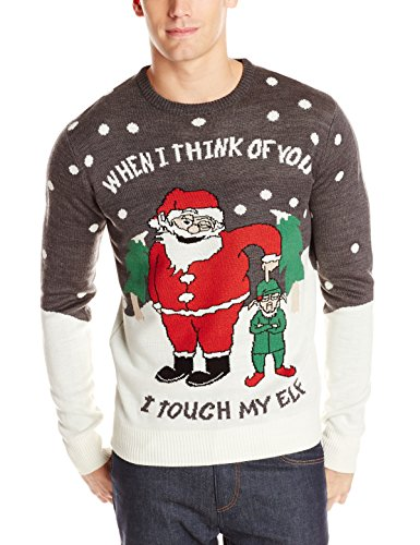 Mens Touch My Elf Ugly Christmas Sweater Stop The Boring