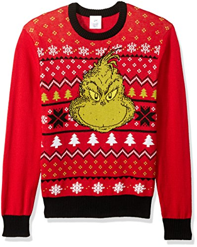 dr seuss mens grinch face ugly christmas sweater - Grinch Ugly Christmas Sweater