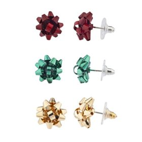 Christmas Present Bow Multi-Earring Set