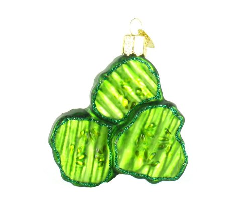Christmas Pickle Chips Glass Blown Ornament