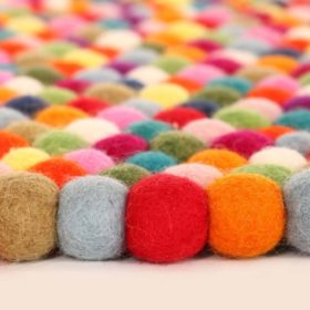 Original-Happy-As-Larry-Multicolor-Felt-Ball-Rug-Handmade-in-Nepal-0-1