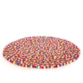 Multi-Color Felt Ball Rug