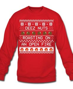Deez Nuts Roasting Ugly Christmas Crewneck Sweatshirt