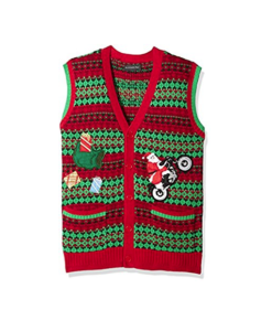 Blizzard Bay Men's Santa Motorcycle Cardi Vest Ugly Xmas