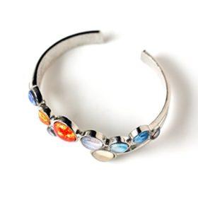 Solar-System-Bracelet-Silver-Tone-Adjustable-Cuff-0-0