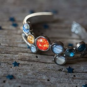 Solar-System-Bracelet-Silver-Tone-Adjustable-Cuff-0-1